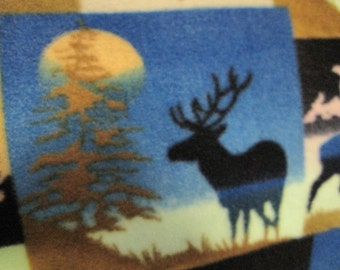 Elks, Suns, Trees, Mountains with Brown Handmade Fleece Blanket - Ready to Ship Now