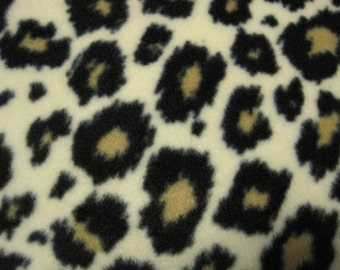 Leopard Spots on Cream All Over with Black Fleece Blanket - Ready to Ship Now