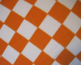 Handmade 2 Layer Fleece Blanket - Orange and White Checkered Squares with Orange - Ready to Ship Now