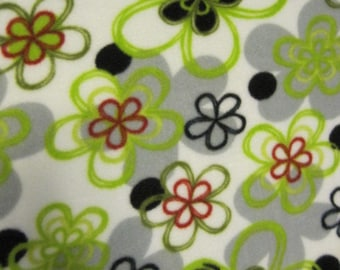 Flowers on White with Red 2 Layer Blanket - Ready to Ship Now