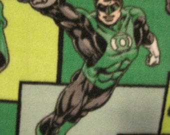 The Green Lantern, from the DC Comics Super Heros, on Green with Gray Handmade Blanket - Ready to Ship Now