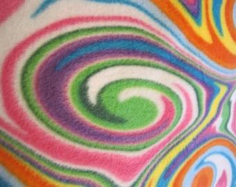 Swirls on White with Orange Fleece Double Layer Blanket