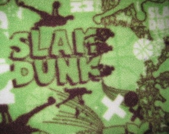 Basketball Slam Dunk on Green with Brown Fleece Blanket - Ready to Ship Now