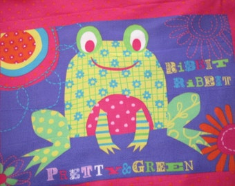 Frog on Purple with Green Handmade Blanket - Ready to Ship Now