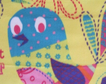 A Pretty Bird on Yellow with Hot Pink Fleece Blanket - Ready to Ship Now