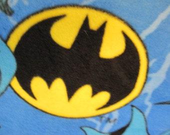 Batman on Blue with Black Handmade Fleece Double Layer Blanket