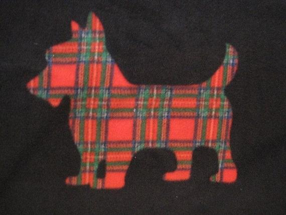 Scottie Dogs on Black with Red Handmade Fleece Blanket