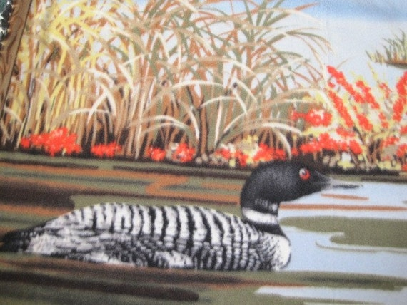 Loons on a Lake with Dark Gray Fleece Blanket