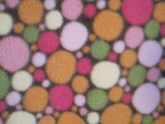 Handmade Blanket Dots and Spots on Brown with Bright Green - Ready to Ship Now