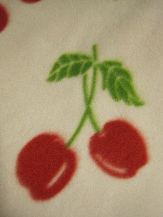 Red Cherries on White with GREEN Blanket - Ready to Ship Now
