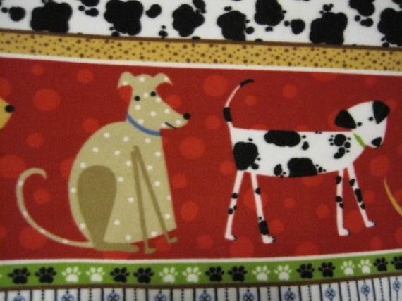 Dogs with Blue Handmade Fleece Blanket
