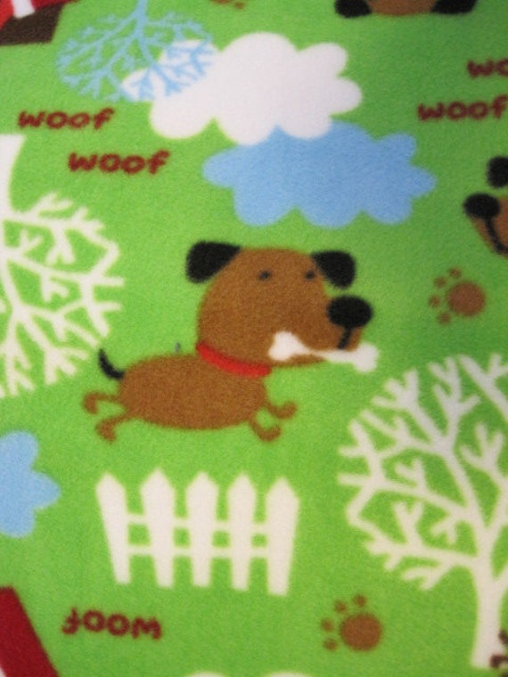 Handmade Fleece Blanket with Dogs on Green with Blue