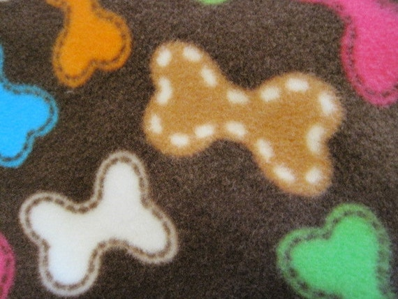 Doggie Treat Bones on Brown with Orange Couch Coverlet Throw - Ready to Ship Now