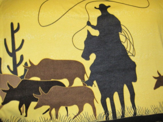 Cowboy Roping Cows on Yellow with Black Fleece Blanket - Ready to Ship Now