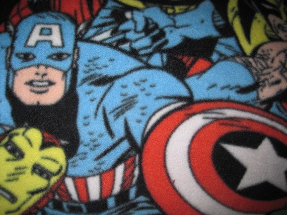 Captain America, Thor, Spiderman and The Hulk on Black with Red Blanket