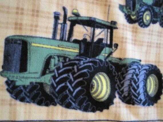 John Deere on Brown Plaid with Brown Fleece Handmade Blanket