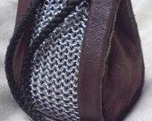 Green and Brown Leather with Chain Mail Drawstring Bag