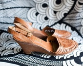 Vintage 1970's Woven Leather Wedge Sandals