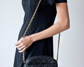 Vintage Genuine Leather Quilted Purse with Gold Wrap Chain Designer Inspired Black