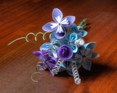Origami flower bouquet in blue whimsy