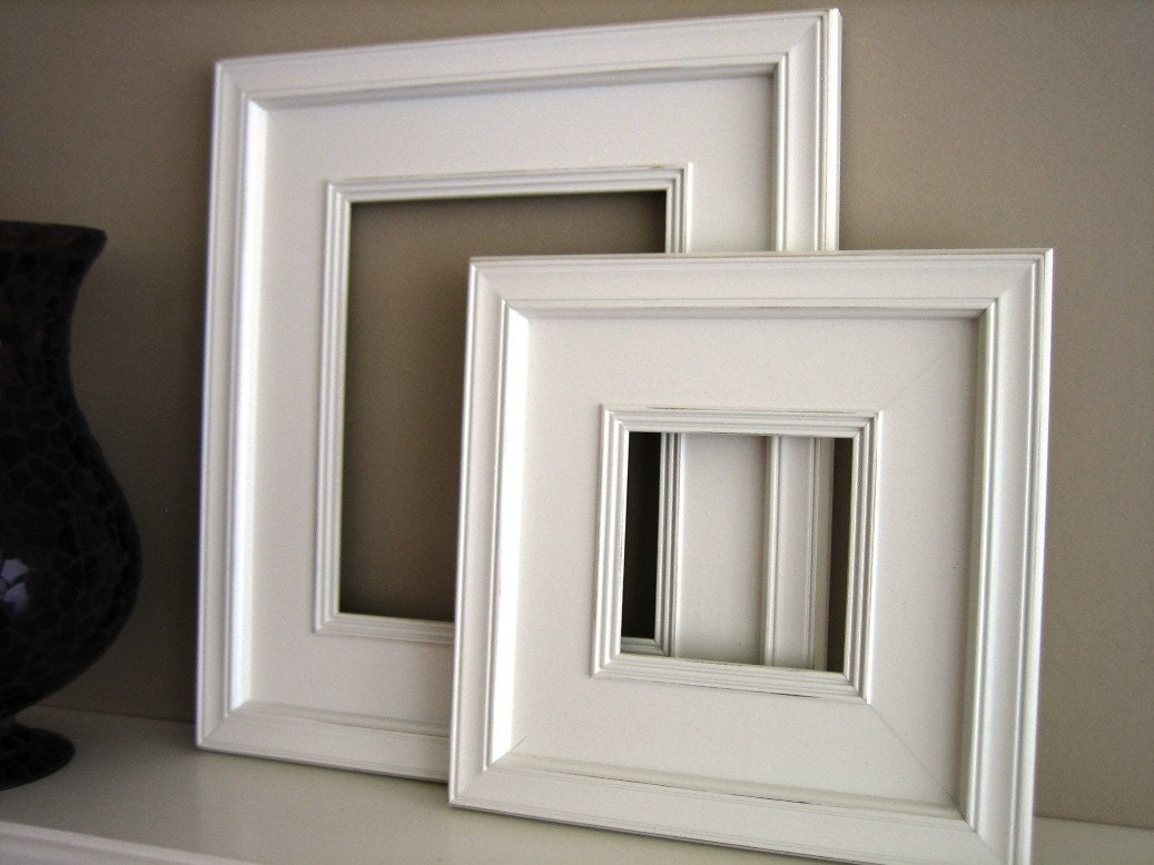 10x10 Plein Air Wide White Square Picture Frame Distressed