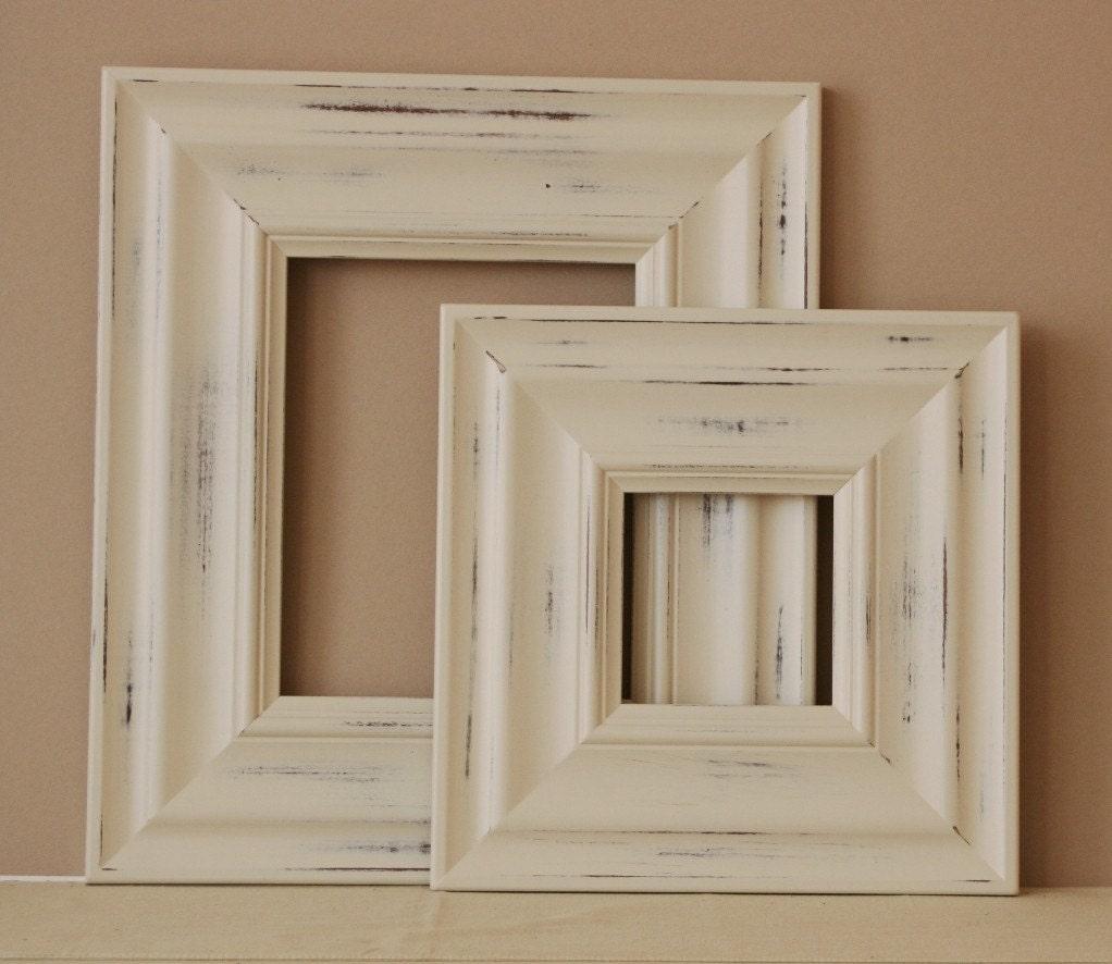 24x24 distressed wood picture frame vintage white on 400. Black Bedroom Furniture Sets. Home Design Ideas