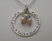 Hand Stamped Necklace Washer Sterling Silver CIRCLE OF LOVE - Custom Mother  Personalized