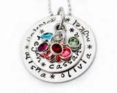 Personalized Mother GRANDMOTHER Necklace Names, Mother Silver Personalized Necklace, Mother Names Birthstones Necklace, Silver