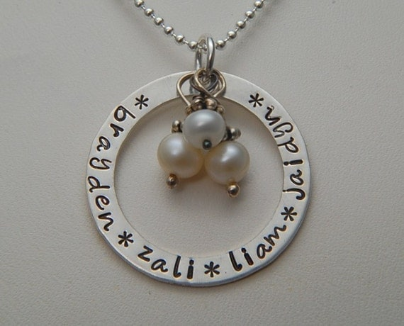 Hand Stamped Personalized CIRCLE OF LOVE - Custom Mother  Pendant Washer  Necklace in Sterling Silver