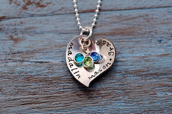 SASSY Domed Heart ....Hand Stamped Silver Necklace