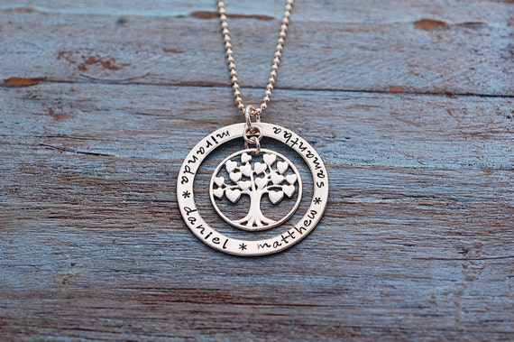 Personalized Family Tree - TREE OF LOVE Necklace - Hand Stamped Silver