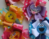 5 Large SESAME STREET Friends Collection Boutique Bows - Large Triple Layer Spiked Bows