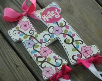 Bow Holder - FANCIFUL WHIMSY Design  - Initial  - Handpainted and Personalized Hairbow Holder