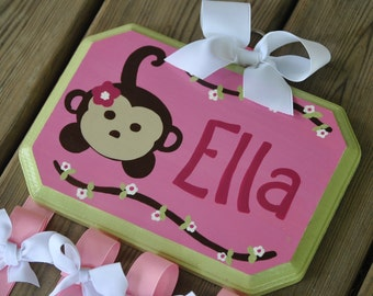 Bow Holder - MONKEY FUN Design - Large - Handpainted and Personalized HairBow Holder
