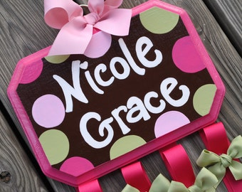 SUGAR DOT Design - Large - Handpainted and Personalized Hair Bow Holder