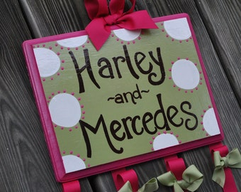 WHIMSICAL DOTTIE Design - XLarge - Handpainted and Personalized Hairbow Holder