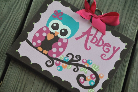 LEYAH OWL - Handpainted Custom Name Canvas 8x10