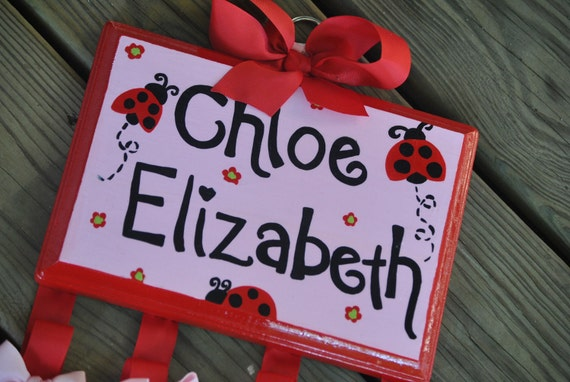 Bow Holder - LADYBUG GARDEN Design - Large - Handpainted and Personalized HairBow Holder