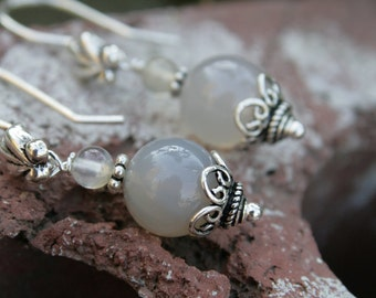 Sterling and Gray Agate Earrings
