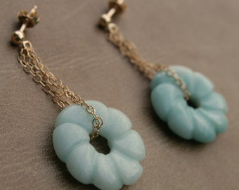 Amazonite and Gold Filled Donut Earring
