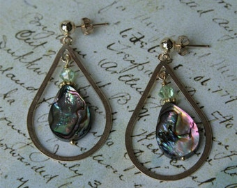 Gold-Filled Abalone Tear-Drop Post Earring