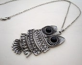 Owl necklace antique silver