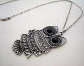 Owl necklace antique silver