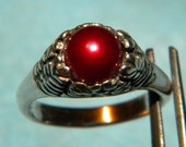 Sterling Silver Beautiful Red Pearl ring Size 6  Made in the USA