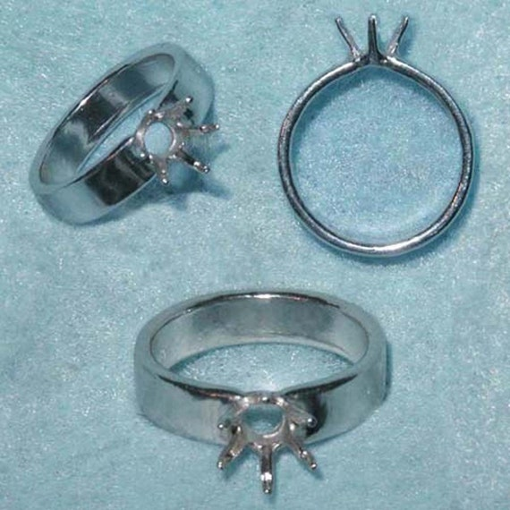 6mm Round Sterling Silver ring setting Size 5 by Varm Add your own stone