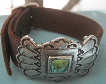 Sundance Leather Turquoise Stone Cuff Bracelet with Gift Box