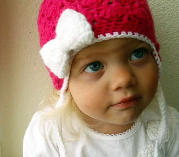 Sparkle Love- Ready to ship- Toddler Girl Fuchsia Pink Crochet Earflap Hat with Bow