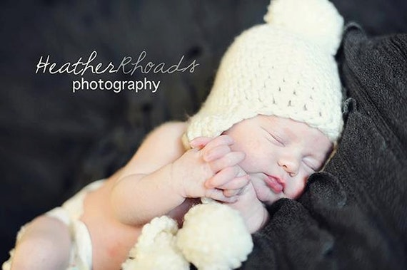 Perfection- Infant Crochet Ear-flap Hat in Whipped Cream with Poms
