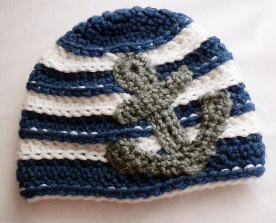 Anchors Away- Nautical Crochet Baby Hat in Navy, White and Medium Gray