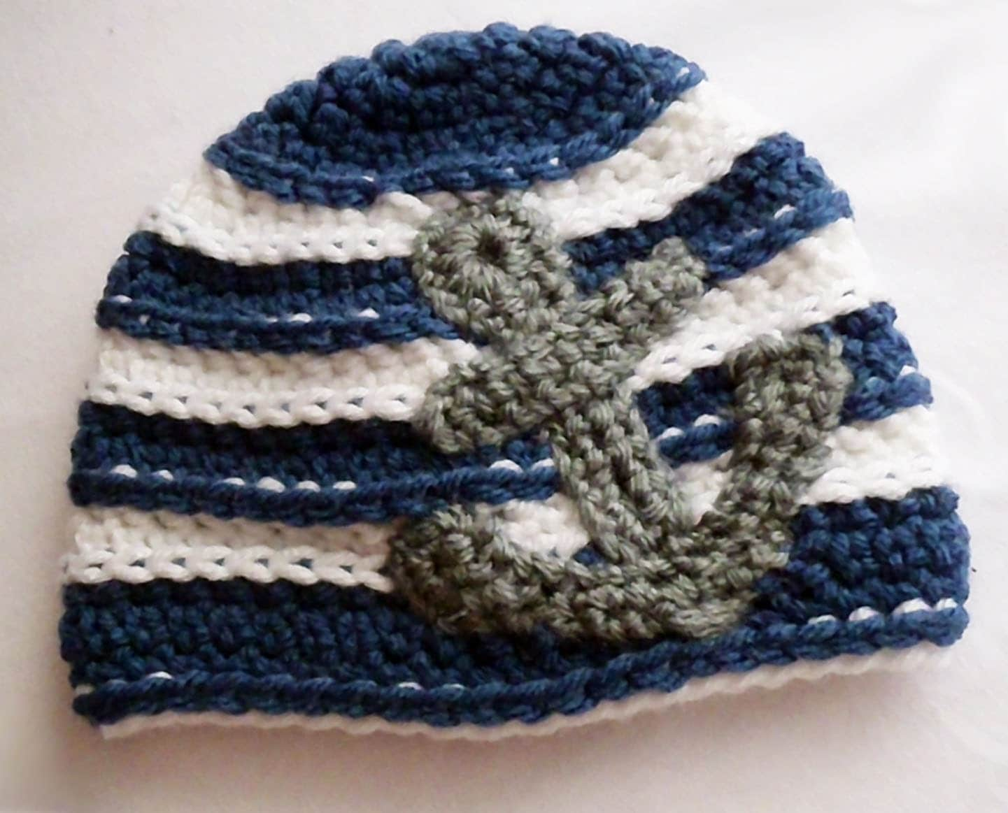 Anchors Away Nautical Crochet Baby Hat In Navy White And